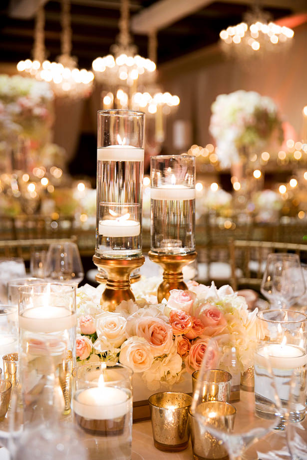 Rose Centerpiece With Candles - Christopher Todd Studios