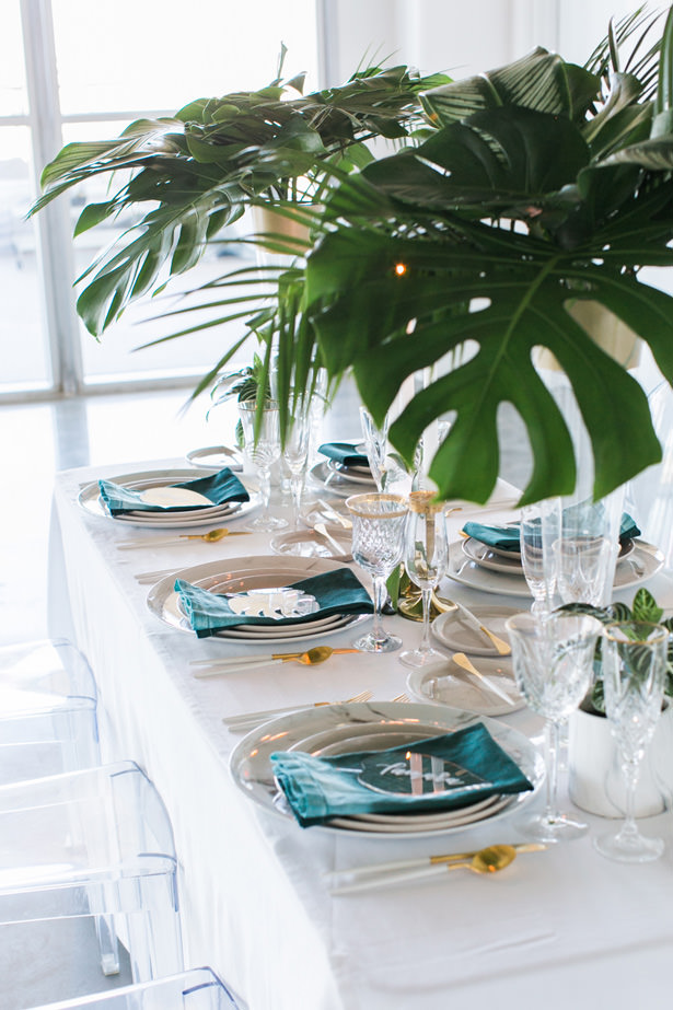 Teal Contemporary Wedding Tablescape - J Wiley Photography