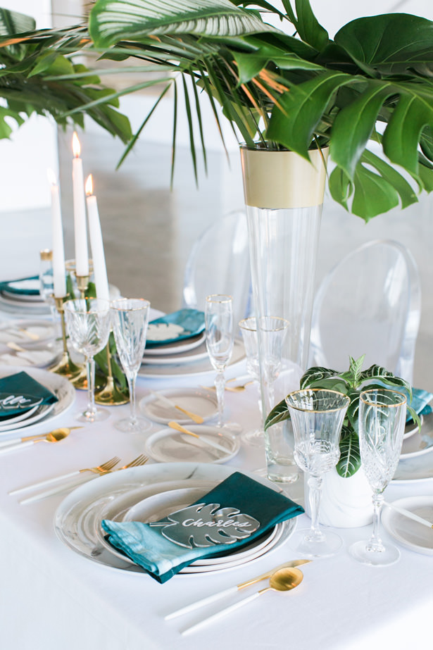 Tropical Modern Wedding Tablescape - J Wiley Photography