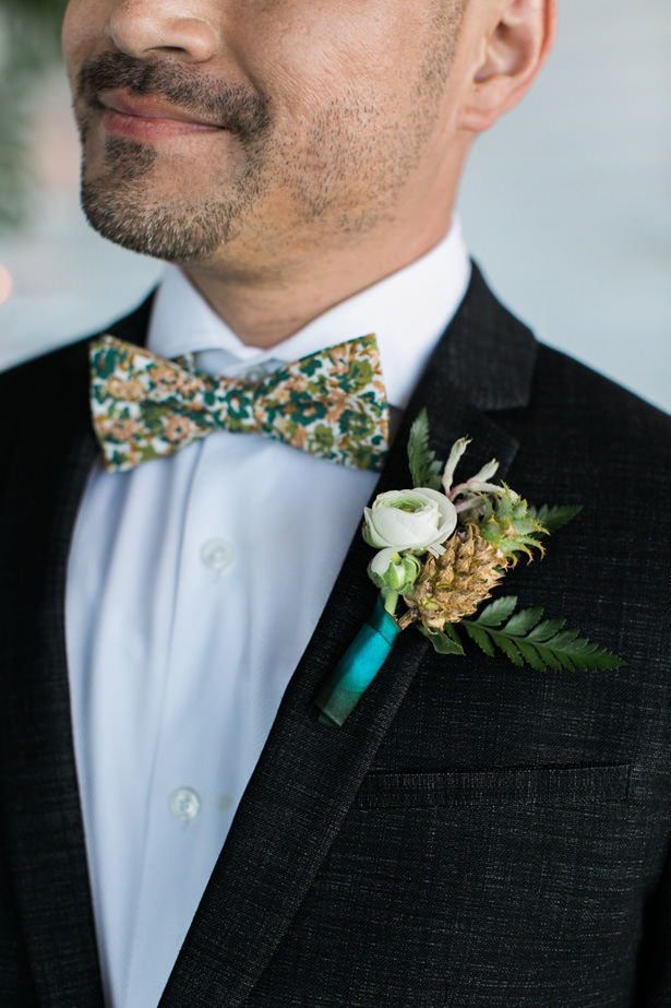 Tropical Wedding boutonniere - J Wiley Photography