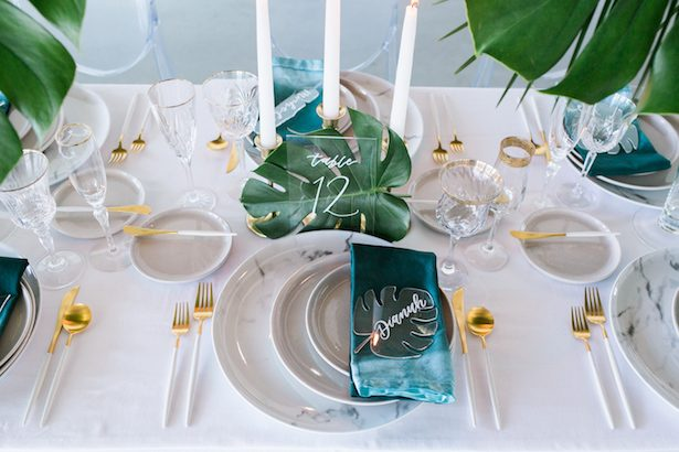 Tropical contemporary Wedding place setting - J Wiley Photography