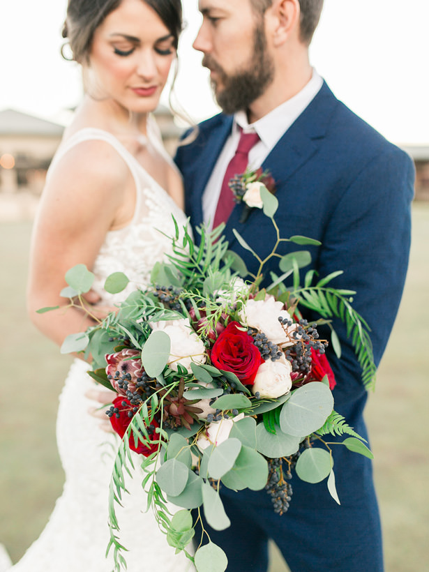 Wedding Bouquet with Roses and Greenery - Mandy Ford Photography