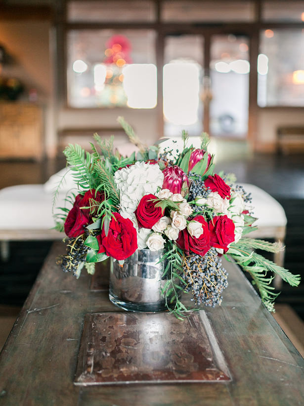 Wedding Centerpiece with Roses and Greenery - Mandy Ford Photography