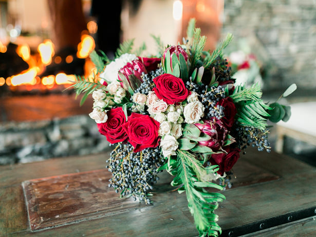 Wedding Flowers with Roses and Greenery - Mandy Ford Photography