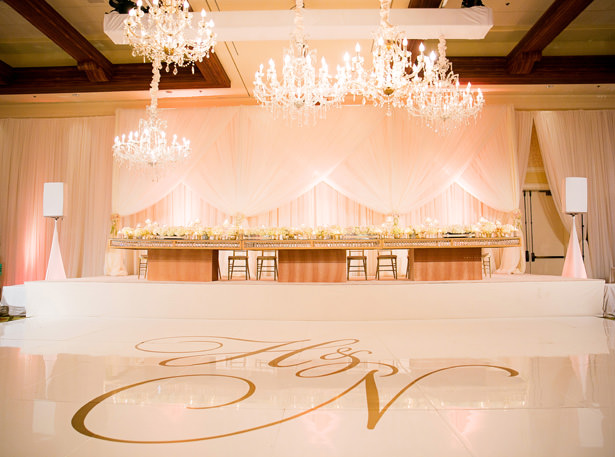 Gold Luxe Wedding Dance floor Reception Decor - Christopher Todd Studios