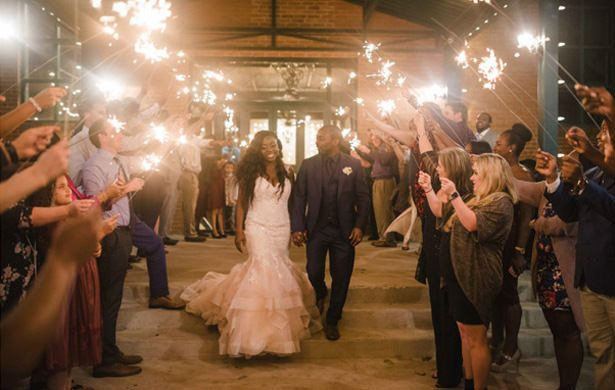 Navy + Burgundy Industrial Wedding and a Seriously Glamorous Bride