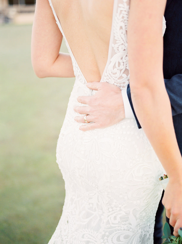 plunging v back lace wedding dress - Mandy Ford Photography