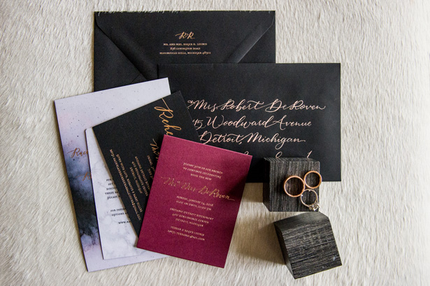 Black and Gold Wedding Invitation - Jean Smith Photography