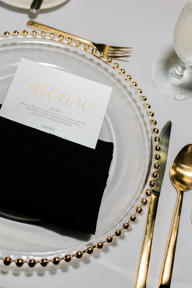 Black white and gold wedding place setting - Flashy Mama Photography
