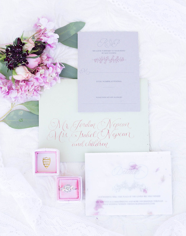 Blush wedding Invitations- Janita Mestre Photography
