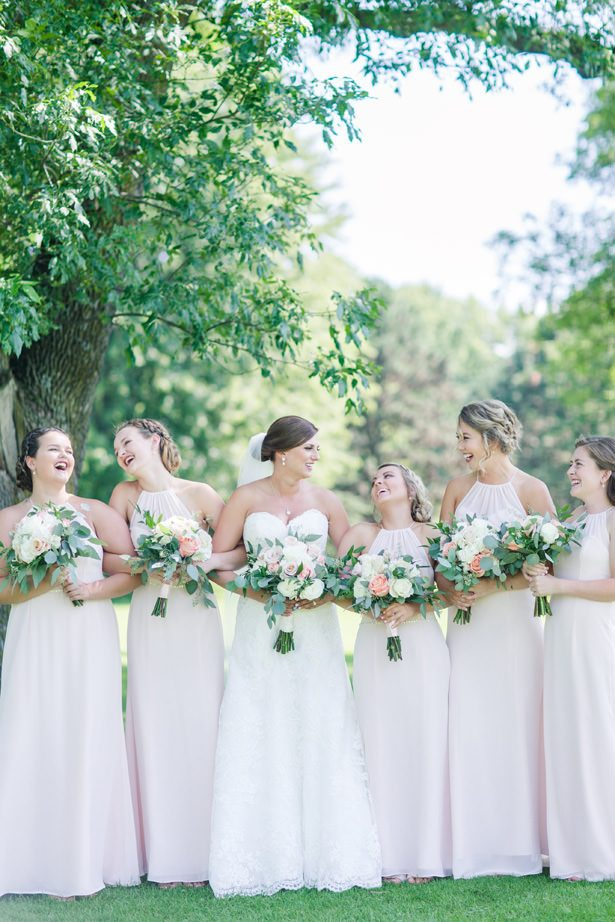 Blush Long Bridesmaid Dresses - Alisha Marie Photography