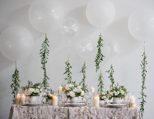 Classic Wedding Tablescape with Balloons - Alicia Campbell Photography