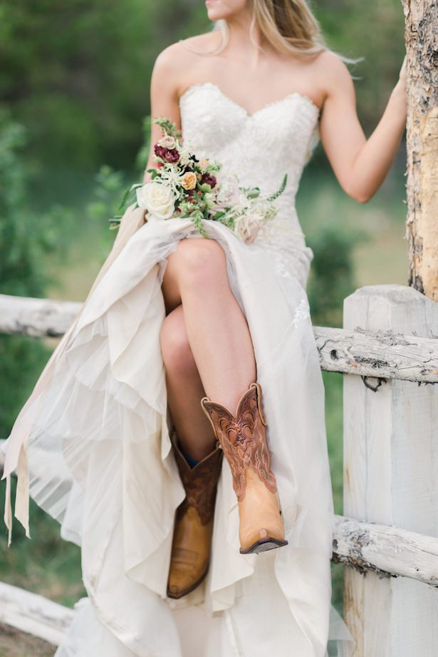 Country Rustic Wedding Dress with cowboy boots by Maggie Sottero Designs