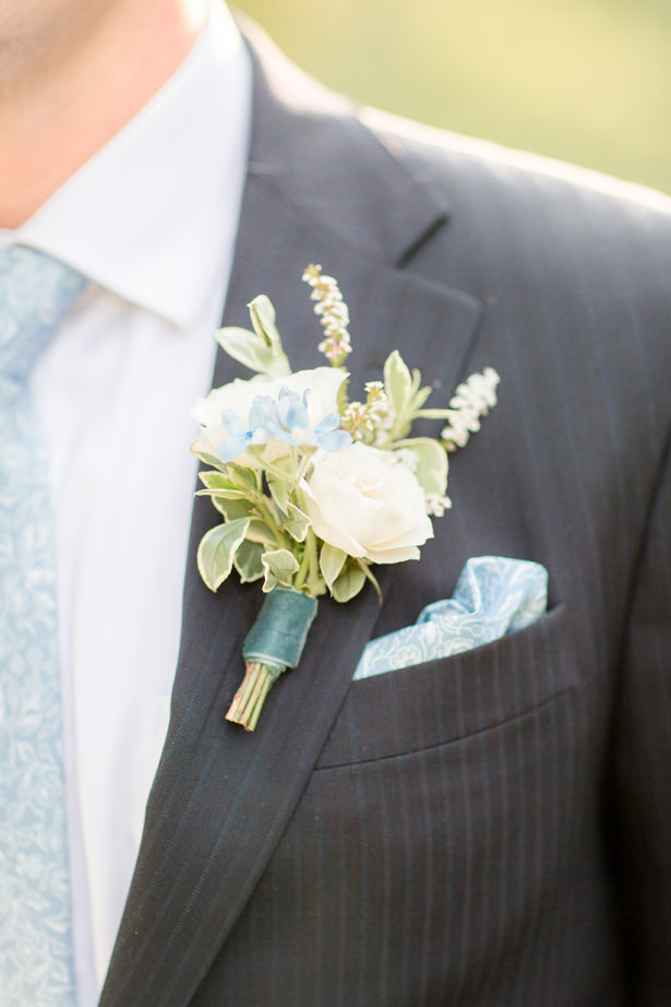 dusty Blue Wedding boutonniere - Idalia Photography