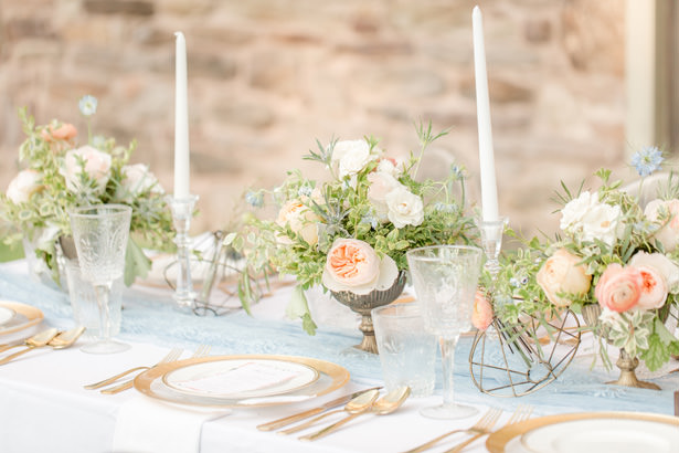 Dusty Blue and Peach Wedding Tablescape