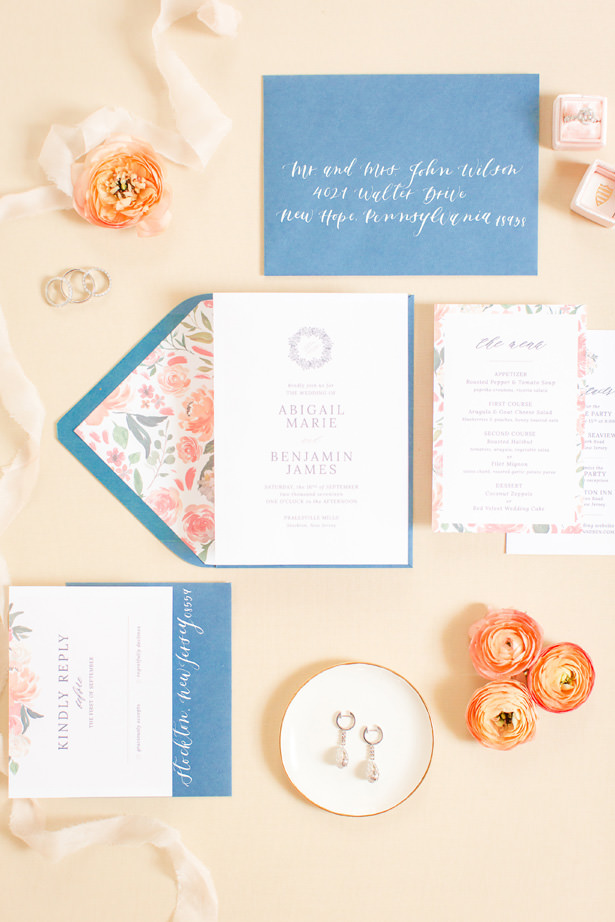 Dusty Blue and peach wedding invitation - Idalia Photography