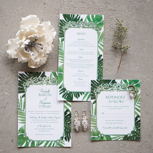 Green Accent Wedding Invitation - Alicia Campbell Photography