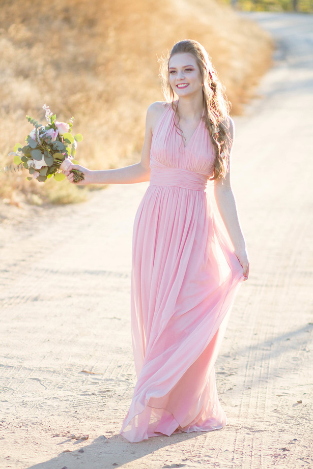 Long blush bridesmaid dress- Janita Mestre Photography