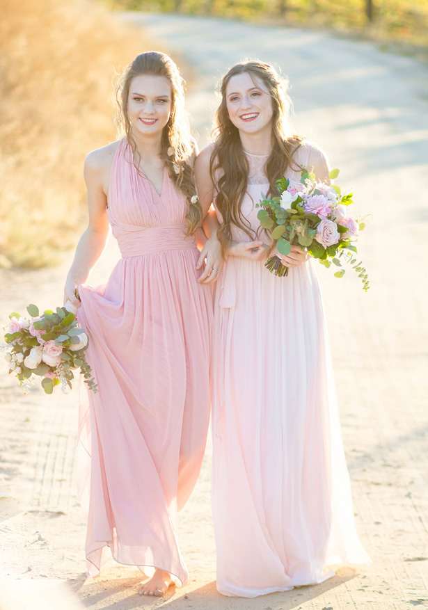 Long blush bridesmaid dresses- Janita Mestre Photography