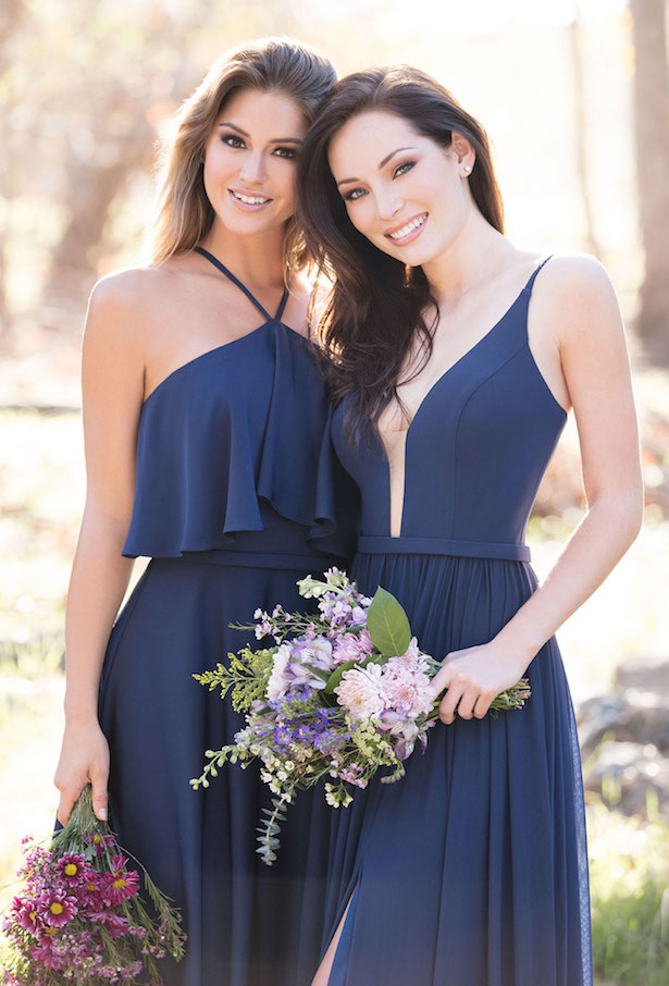 The Secrets Of Successful Mismatched Bridesmaid Dresses with Allure Bridals | Long Navy Blue Bridesmaids Gowns