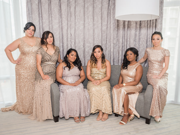 Mismatched metallic long bridesmaid dresses - Flashy Mama Photography