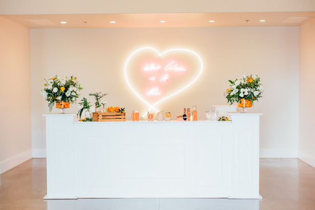 Modern Citrus Wedding Bar - Holley Elizabeth Photography