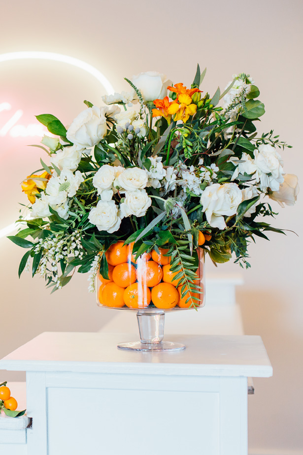 Modern Citrus Wedding Centerpiece - Holley Elizabeth Photography