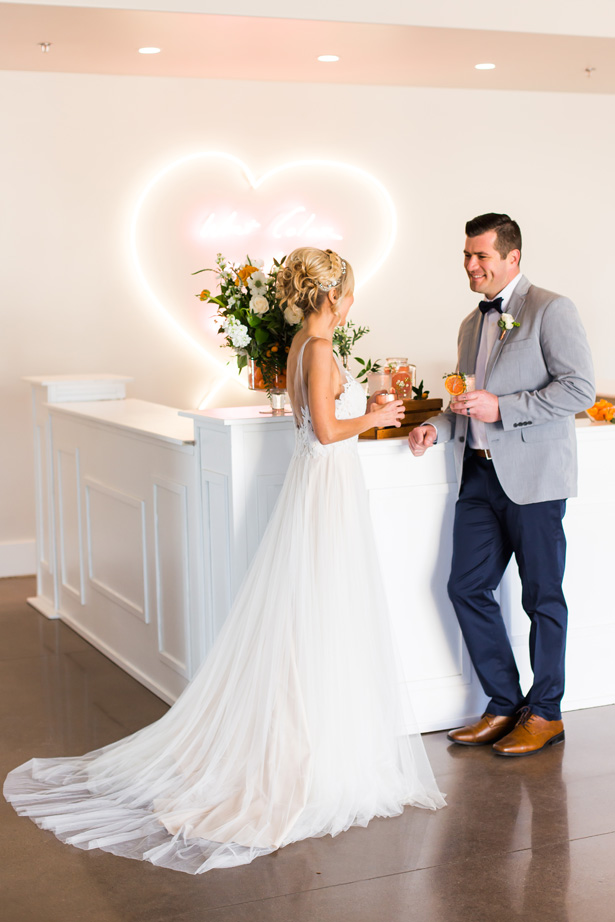 Modern Citrus Wedding Bar - Holley Elizabeth Photography - Holley Elizabeth Photography
