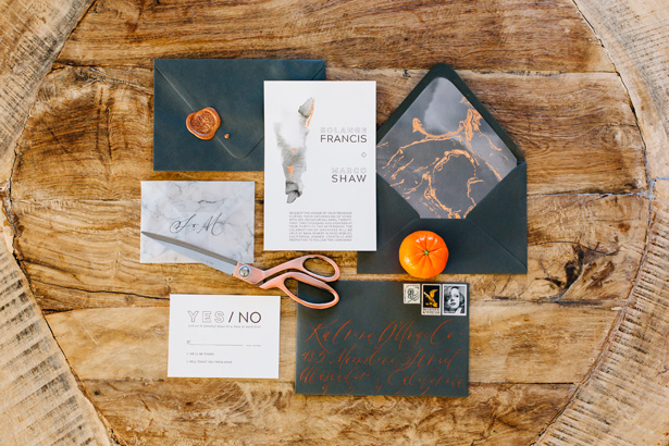 Modern Citrus Wedding Invitation - Holley Elizabeth Photography