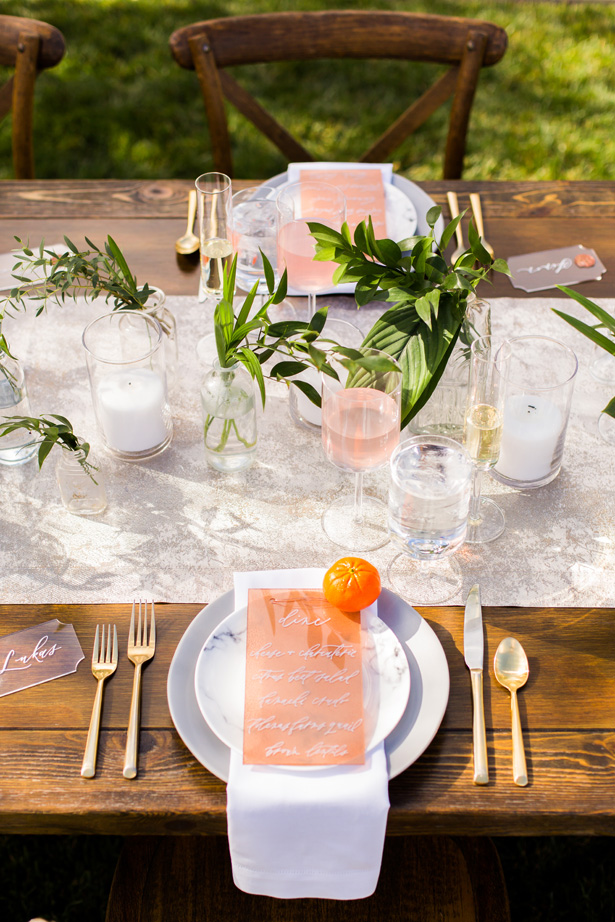 Modern Citrus Wedding Place Setting - Holley Elizabeth Photography