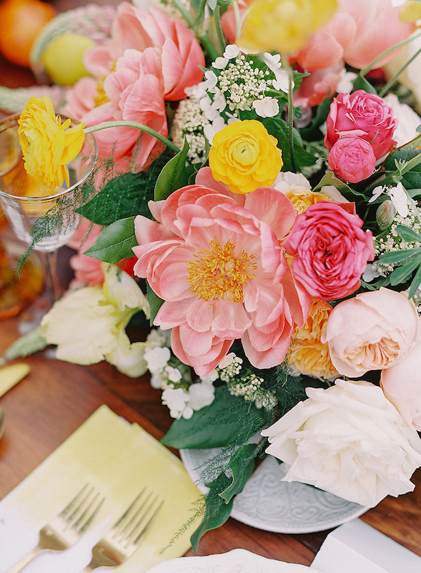 Peony wedding centerpiece - Whitney Heard Photography