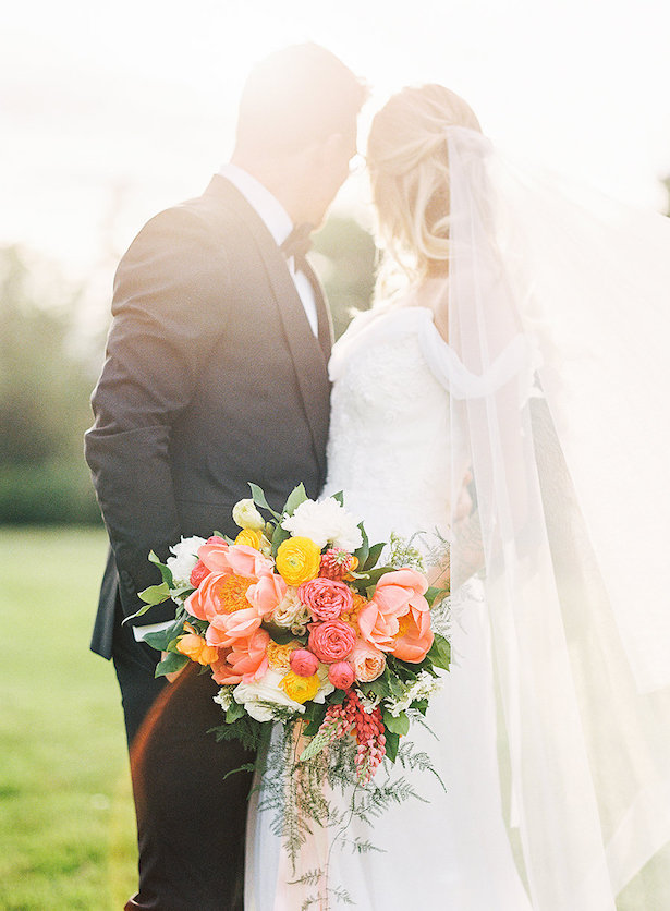 Romantic wedding photo and peony bouquet - Whitney Heard Photography