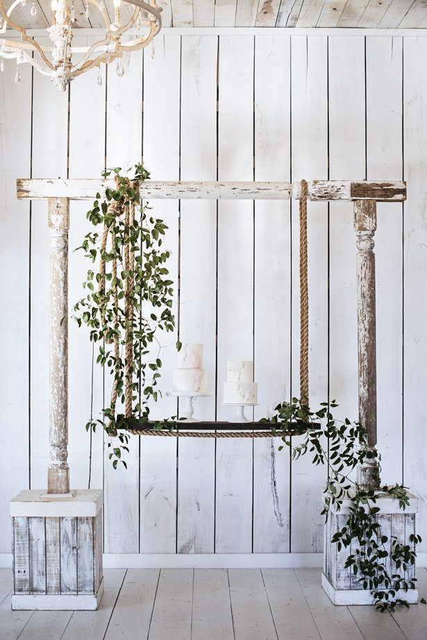 Rustic Wedding Arch Cake Table - Tina Joiner Photography
