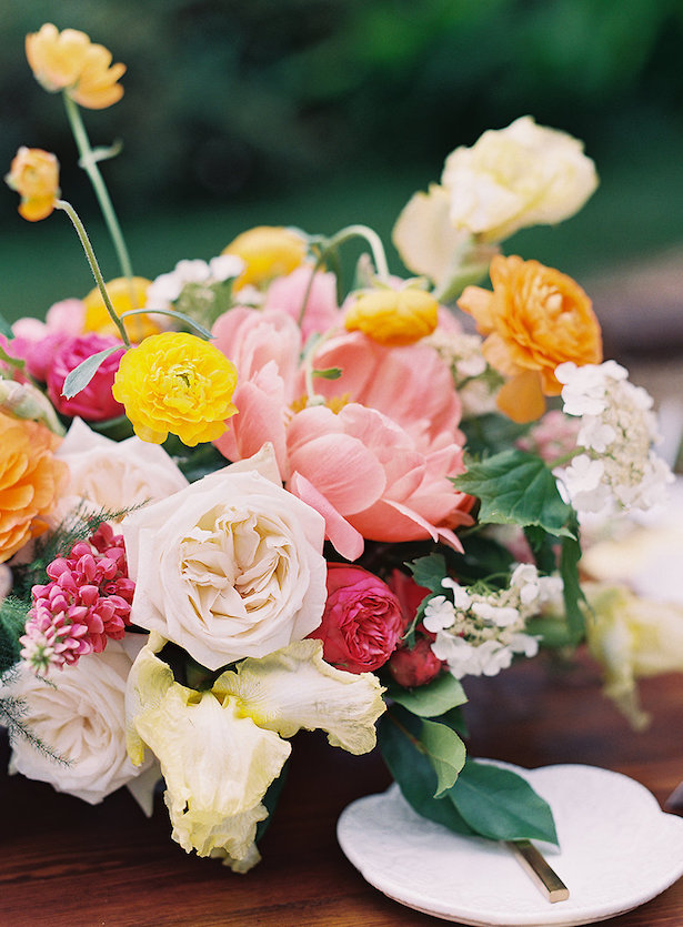 Summer wedding centerpiece with peonies - Whitney Heard Photography