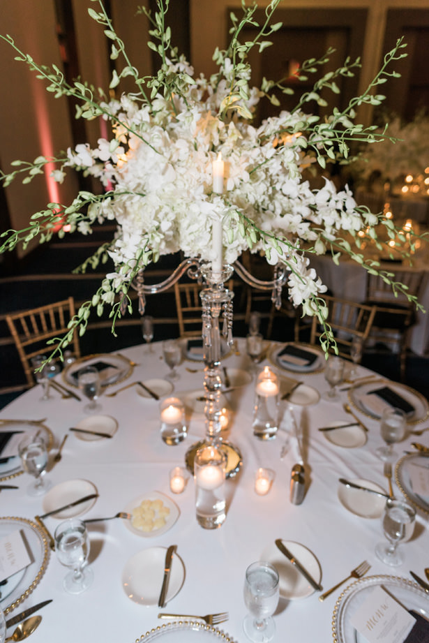 Tall white wedding centerpiece and crystal candelabra - Flashy Mama Photography