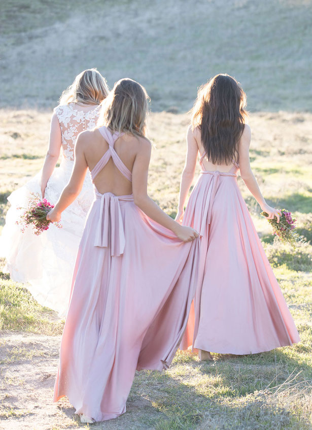 The Secrets Of Successful Mismatched Bridesmaid Dresses with Allure Bridals | Long light pink bridesmaids gowns