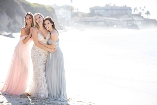 The Secrets Of Successful Mismatched Bridesmaid Dresses with Allure Bridals | Long pastel bpink and grey bridesmaids gowns