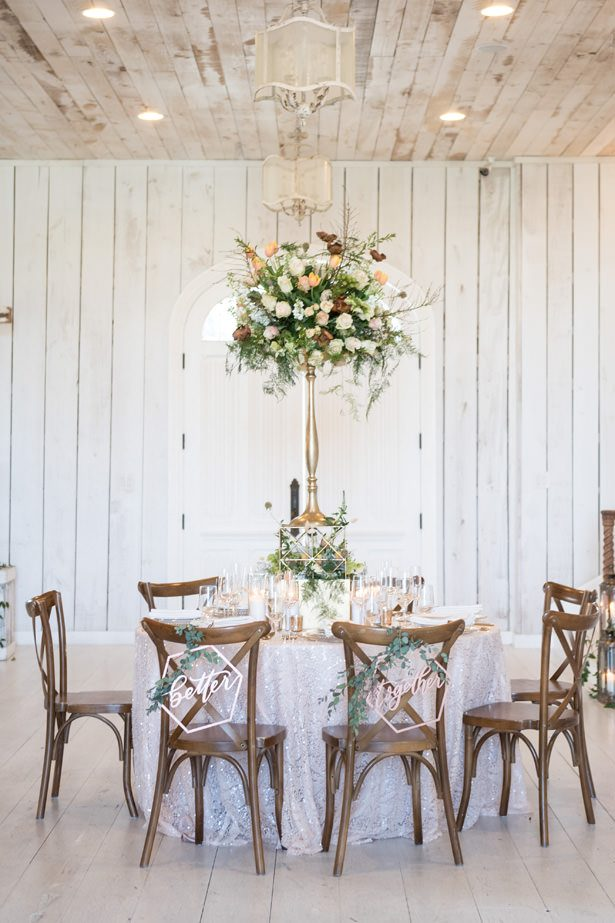 Rustic Wedding Tablescape With Tall Centerpiece - Tina Joiner Photography