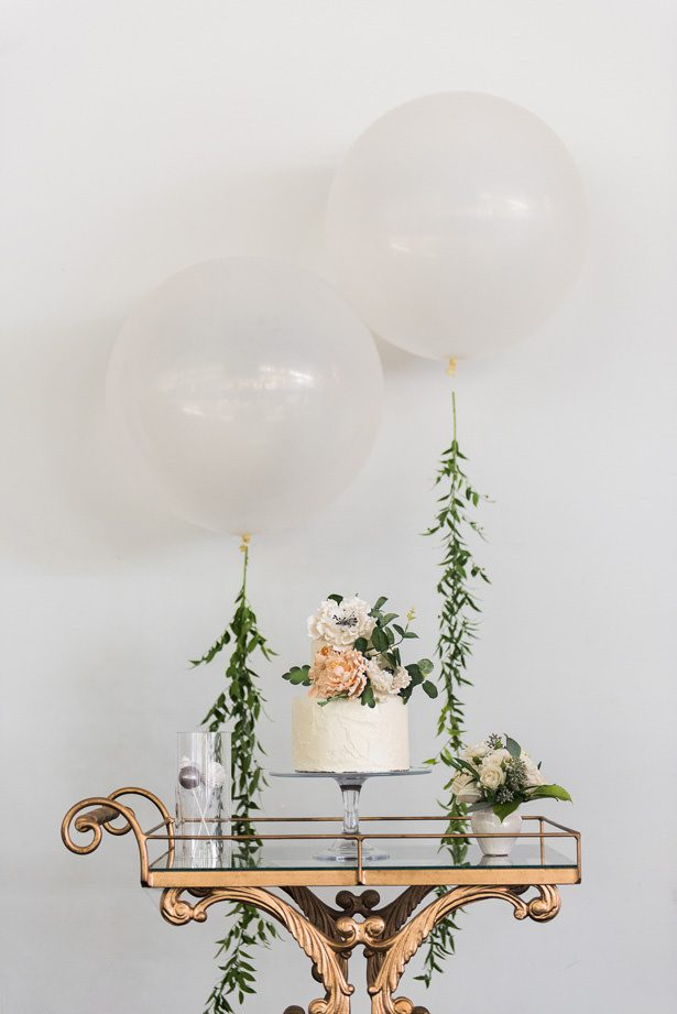 Wedding Cake Table With Balloons - Alicia Campbell Photography