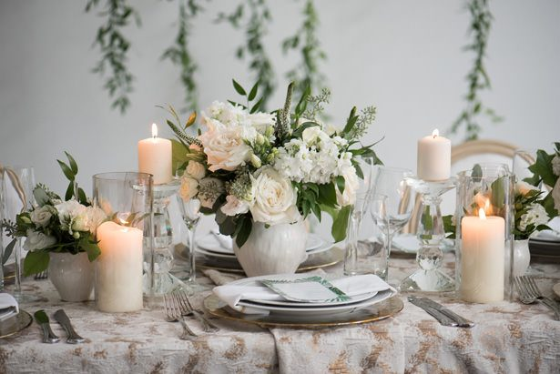 White Rose Wedding Table Centerpiece - Alicia Campbell Photography