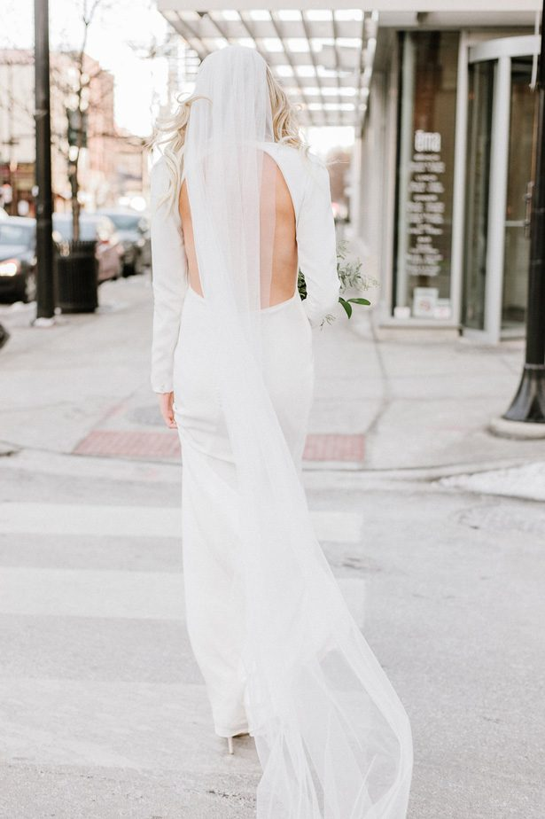 Backless simple winter wedding dress- Nicole Jansma Photography
