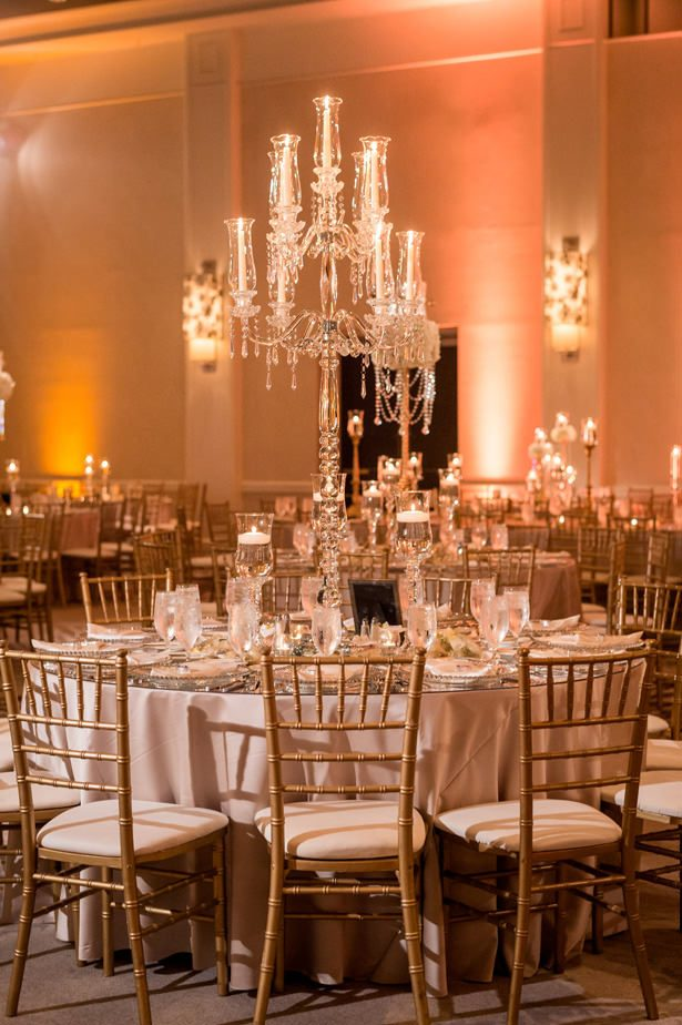 Crystal candelabra wedding tablescape - Photographer: Julia Franzosa