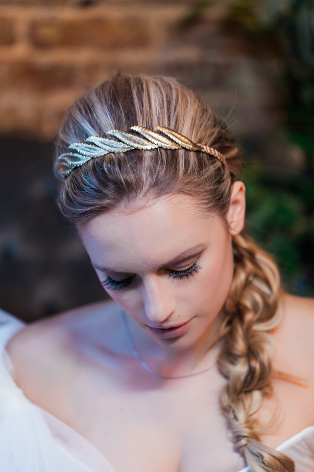 Gold leaf bridal headpiece - Amanda Karen Photography