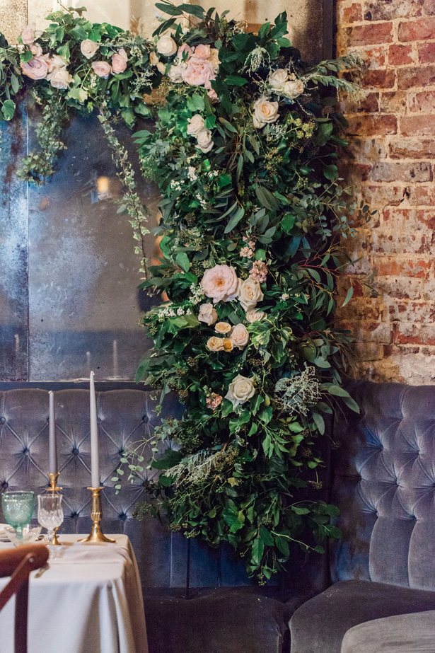 Greenery wedding garland with roses - Amanda Karen Photography