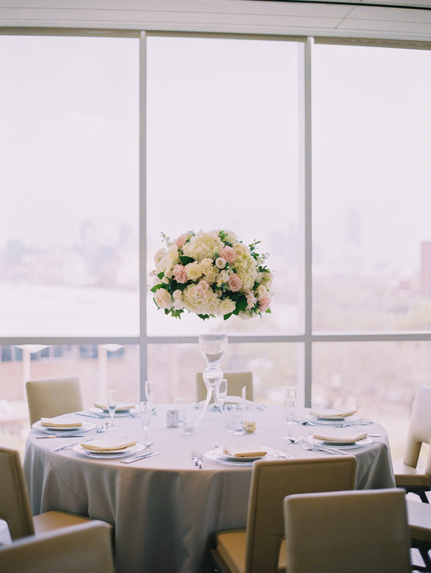 Light and Airy Tall Wedding Centerpiece - Anna Smith Photo