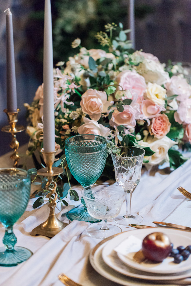 Low Wedding Centerpiece with pink roses - Amanda Karen Photography