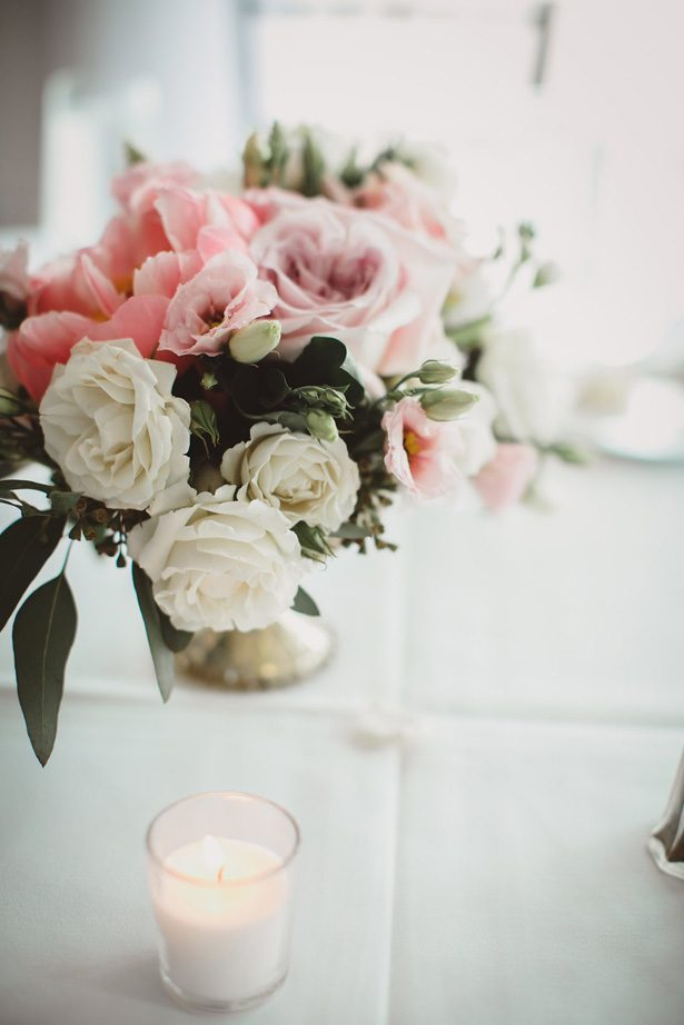 Low blush wedding centerpiece- Dani Leigh Photography