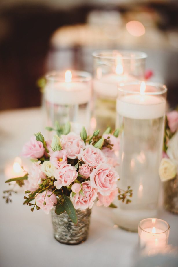 Low blush wedding centerpiece with floating candles- Dani Leigh Photography