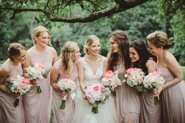 Mismatched blush long bridesmaid dresses- Dani Leigh Photography
