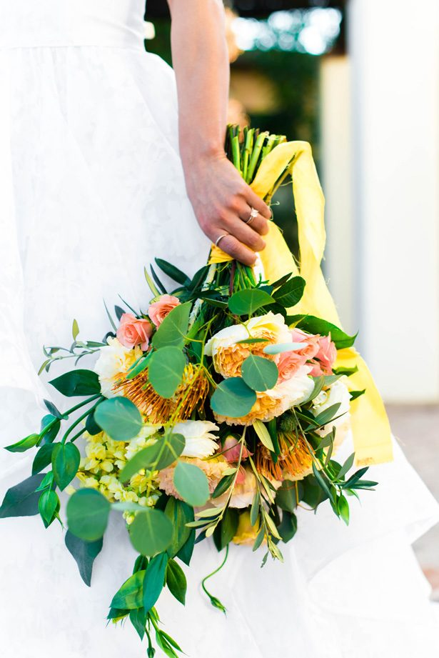 Orange and yellow wild wedding bouquet - M.Hutchison Photography